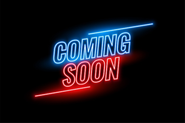 Neon style coming soon glowing background design Free Vector