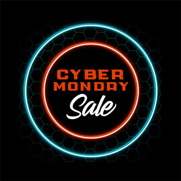 Neon style cyber monday sale banner design Free Vector