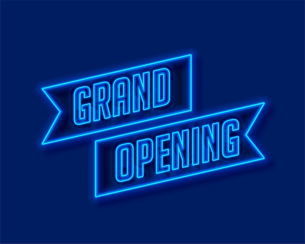 Neon style grand opening ceremony template Free Vector