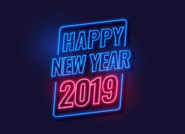 Neon style happy new year 2019 background Free Vector
