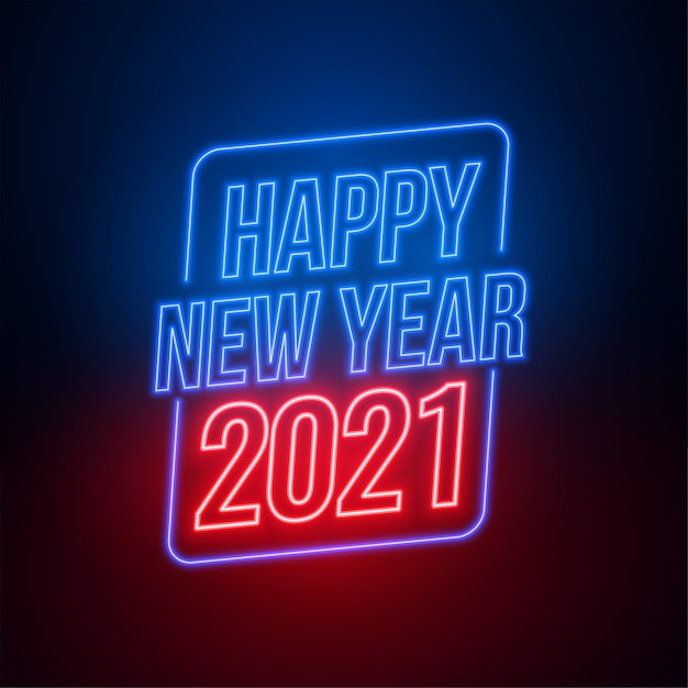 Neon style happy new year  background Free Vector