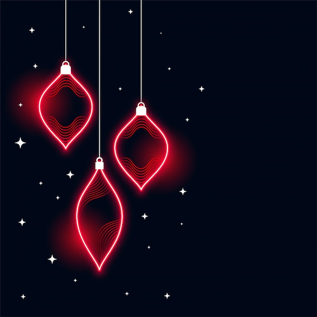 Neon style merry christmas banner background Free Vector