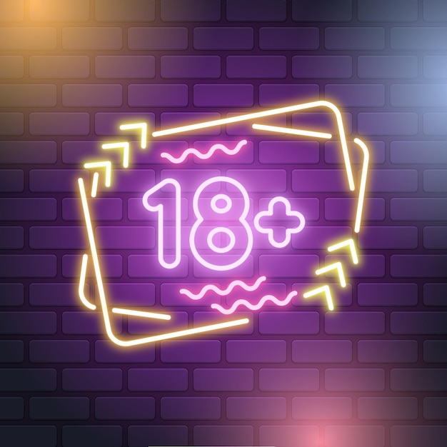 Neon style number 18+ Free Vector