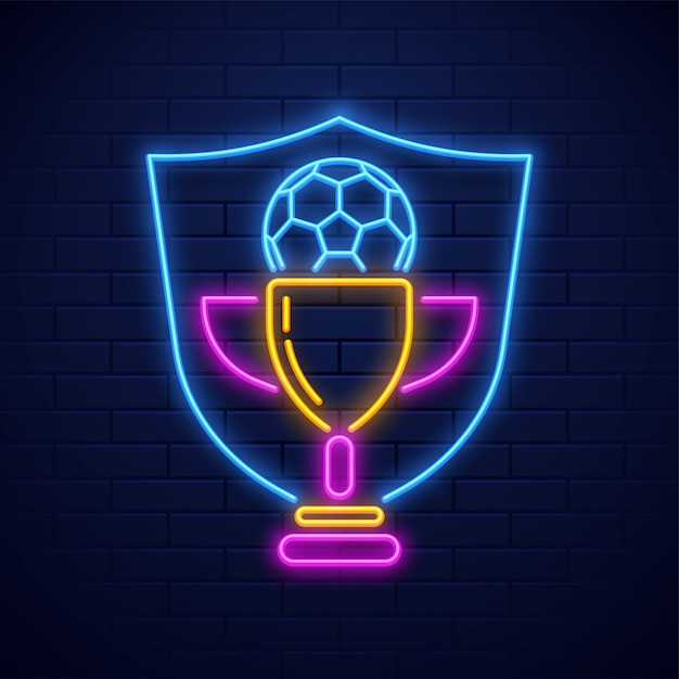 Neon style soccer trophy award illustration on brick wall background Premium Vector