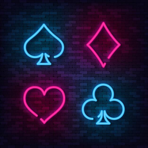 Neon suit poker and casino on brick wall. Premium Vector