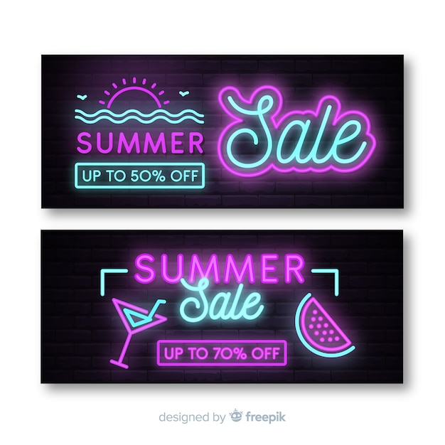 Neon summer sale banner pack Free Vector