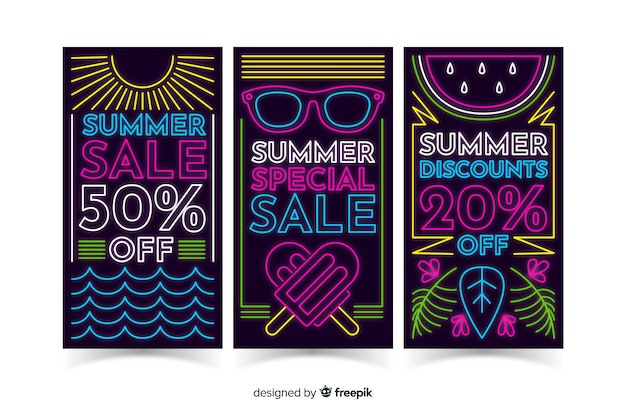 Neon summer sale banners template Free Vector