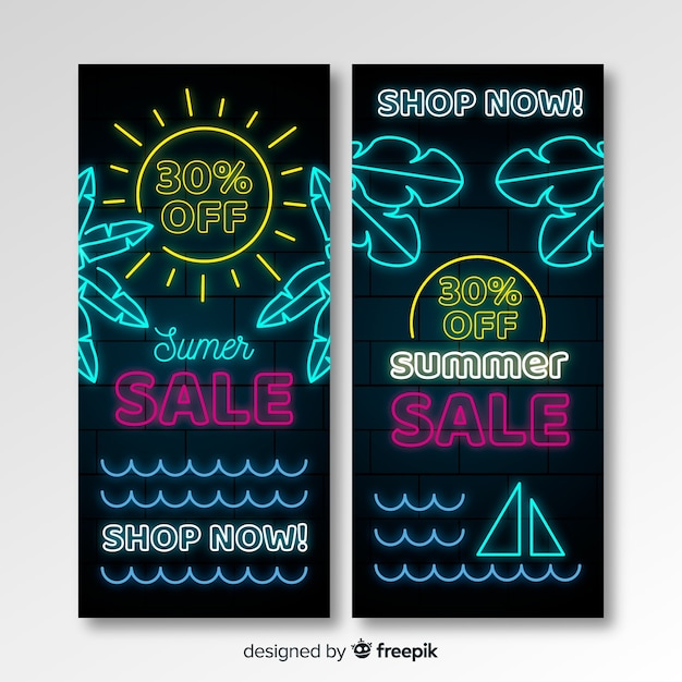 Neon summer sale banners Free Vector