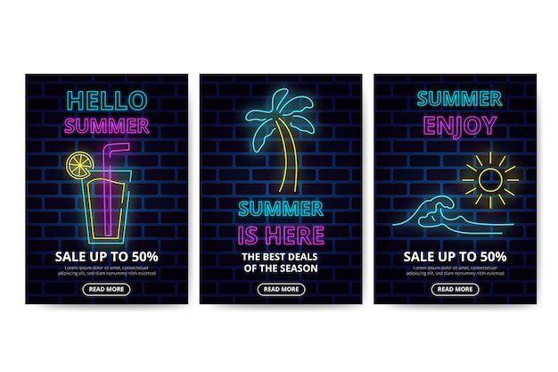 Neon summer sales banner collection Free Vector