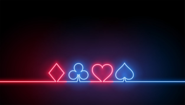 Neon symbols of casino playing cards background Free Vector