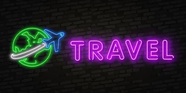 ネオン旅行時間と夏休みのアイコン Premiumベクター