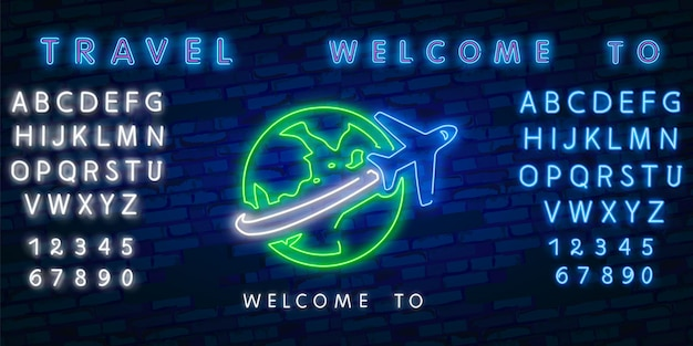 Neon time to travel and summer holiday icon Premium Vector
