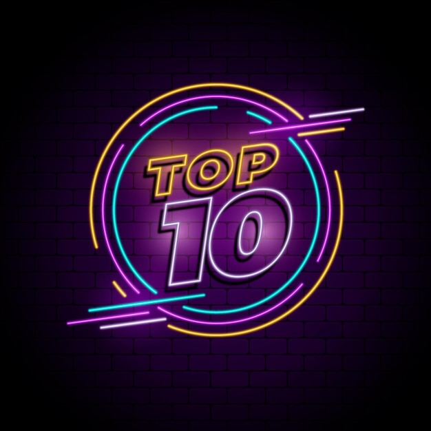 Neon top ten sign with round frame Free Vector