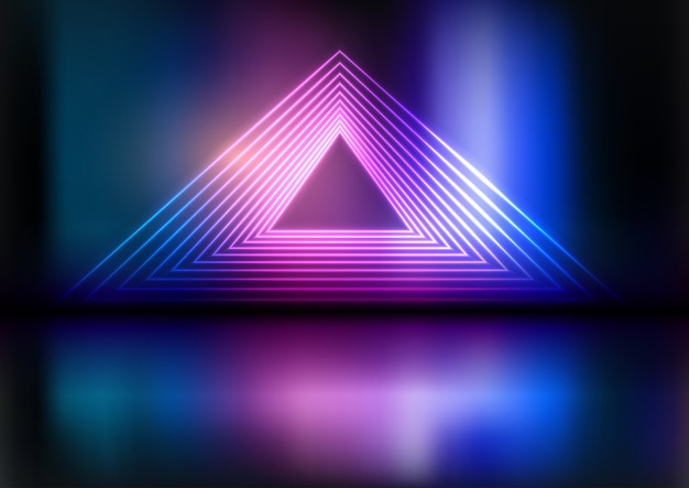 Neon triangle background Free Vector