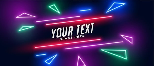 Neon triangle banner with text space Free Vector