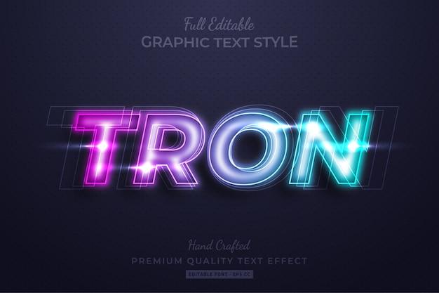 Neon tron editable 3d text style effect premium Premium Vector