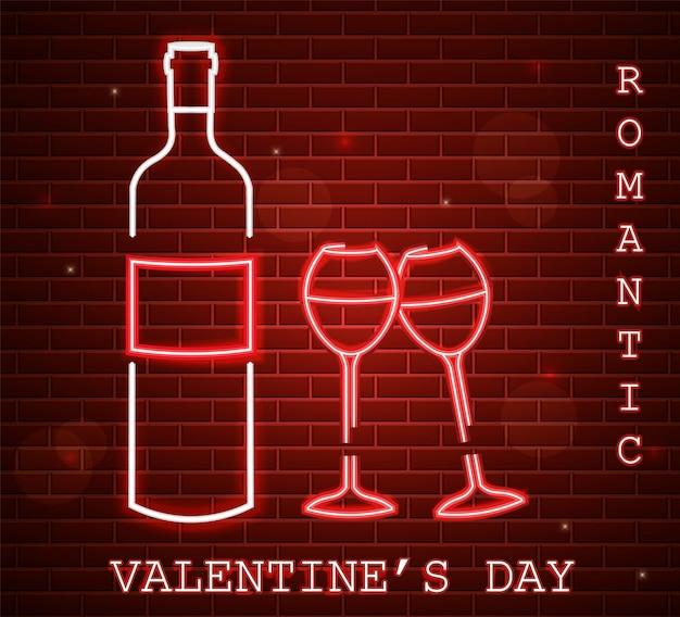 Neon valentine day card with wine bottle Premium Vector