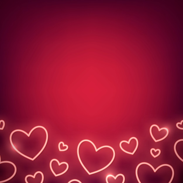 Neon valentine's day illustration Free Vector