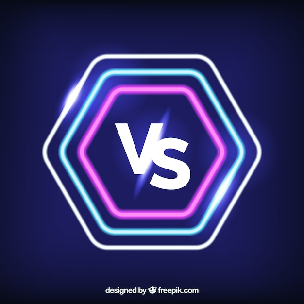 Neon versus background with modern shapes
