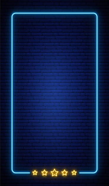 Neon vertical frame background on brick wall. Premium Vector