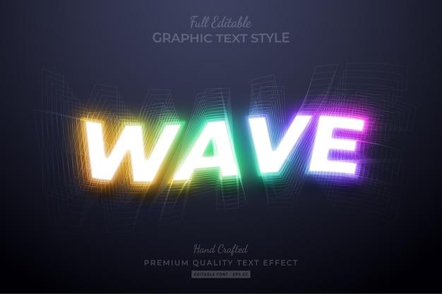 Neon wave gradient editable text style effect Premium Vector
