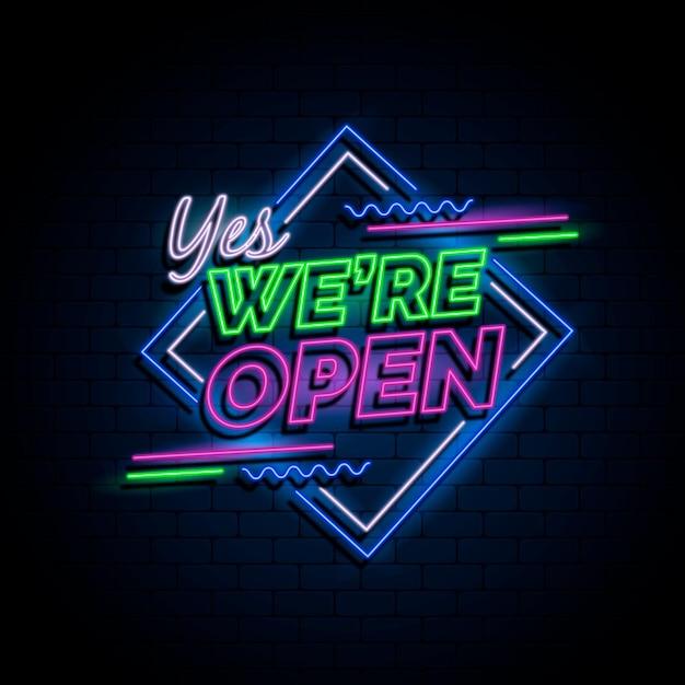 ネオン「私たちは開いています」サイン 無料ベクター