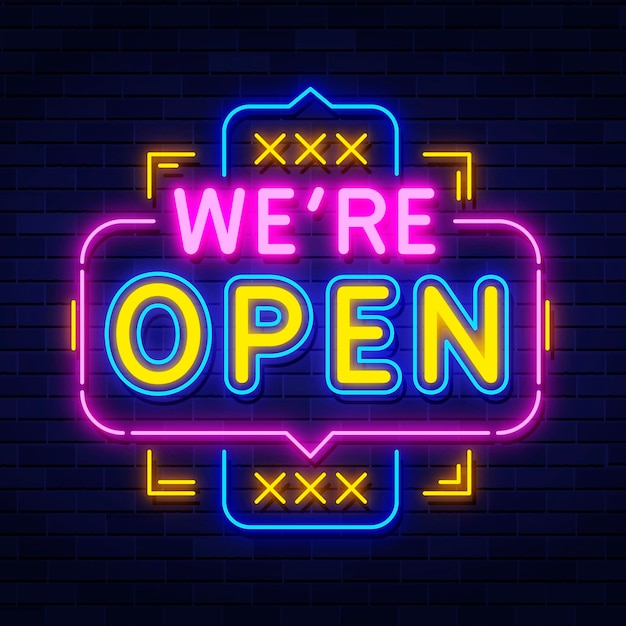 Neon 'we are open' sign Free Vector