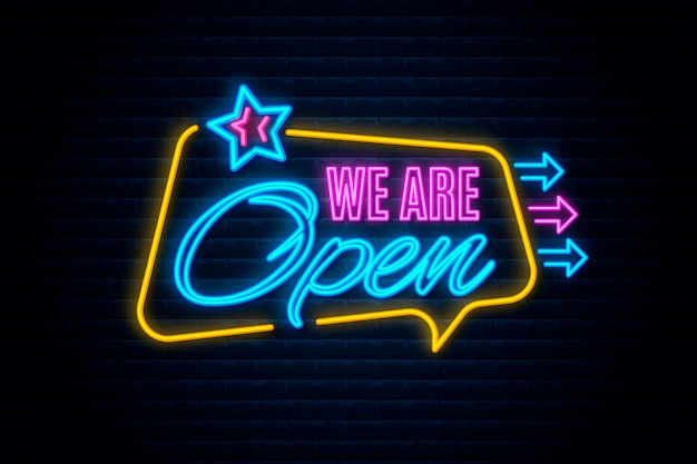 Neon we are open sign Free Vector