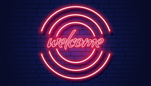 Neon welcome signboard on brick wall background Free Vector