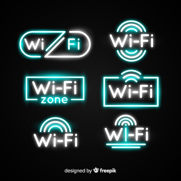 Neon wifi sign collection Free Vector