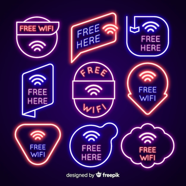 Neon wifi signal collection Free Vector