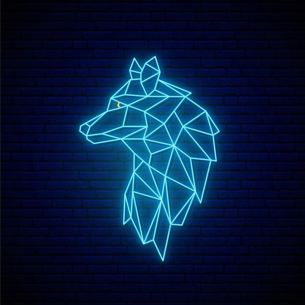 Ảnh con chó sói vẽ dạng ánh sáng xanh neon