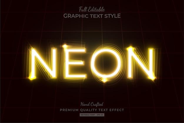 Neon yellow editable text effect Premium Vector