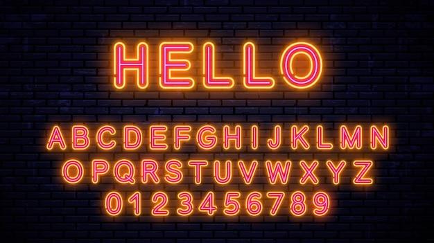 Неоновые желто-красные буквы и цифры. модный светящийся шрифт на фоне стены. неоновый алфавит. Premium векторы