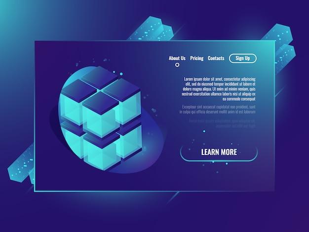 Neone isometricキューブ、サーバーサービスのページ概念、データベース 無料ベクター