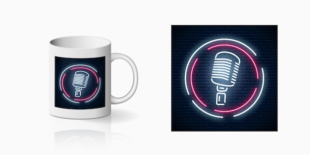Neonprint of microphone in round frame on ceramic mug mockup. design of a nightclub with karaoke and live music. sound cafe icon. Premium Vector
