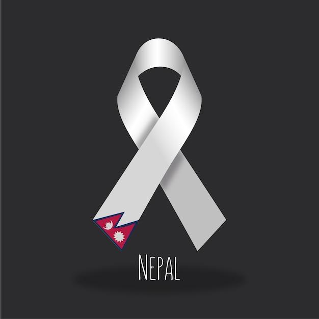 Nepal flag ribbon design Free Vector