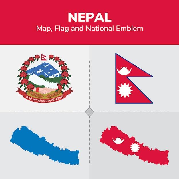 Nepal Map, Flag and National Emblem Vector | Premium Download