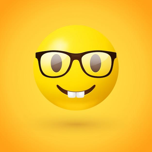 Nerd face emoji Premium Vector