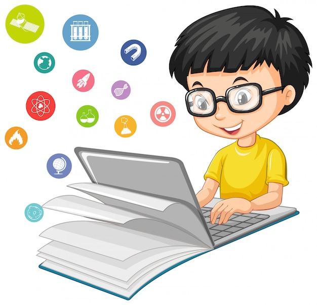 白い背景で隔離の教育アイコン漫画のスタイルのラップトップ上で検索オタク少年 無料ベクター