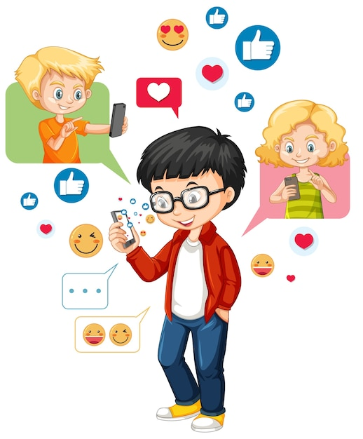 Ботанистый мальчик с помощью смартфона в мультяшном стиле смайликов в социальных сетях на белом фоне Бесплатные векторы