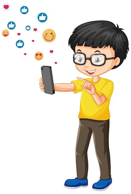 Ботанистый мальчик с помощью смартфона с мультяшном стиле значка смайликов в социальных сетях, изолированные на белом фоне Бесплатные векторы