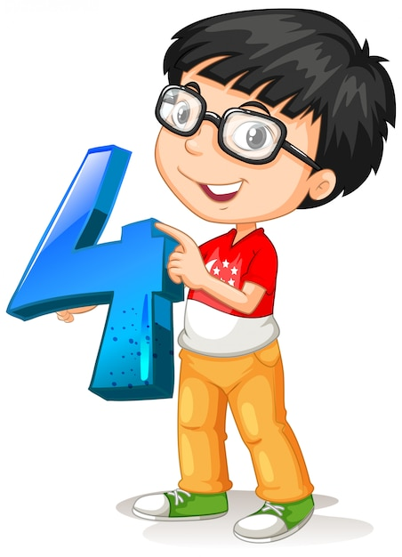 Nerdy boy wearing glasses holding math number four Free Vector