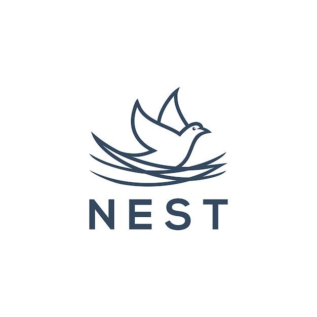Nest logo concept, bird icon for logo design Premium Vector