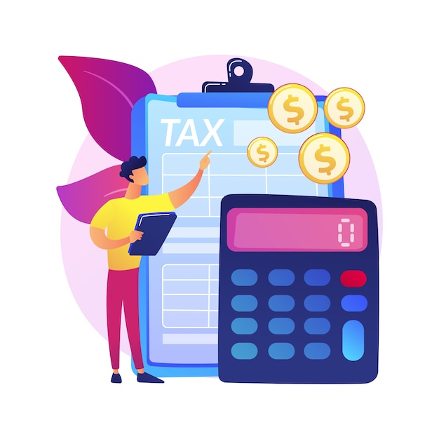 Net income calculating abstract concept  illustration. salary calculation, net income formula, take home pay, corporate accounting, calculating earnings, profit estimation . Free Vector