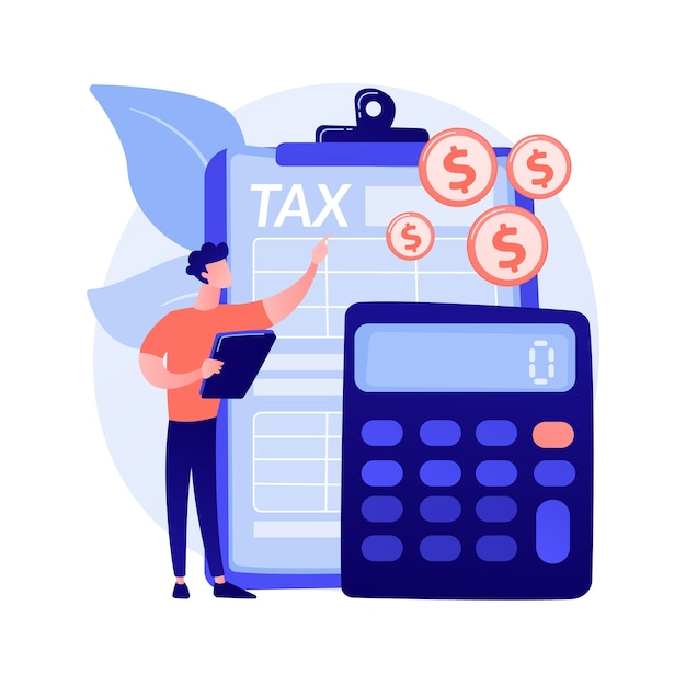 Net income calculating abstract concept vector illustration. salary calculation, net income formula, take home pay, corporate accounting, calculating earnings, profit estimation abstract metaphor. Free Vector