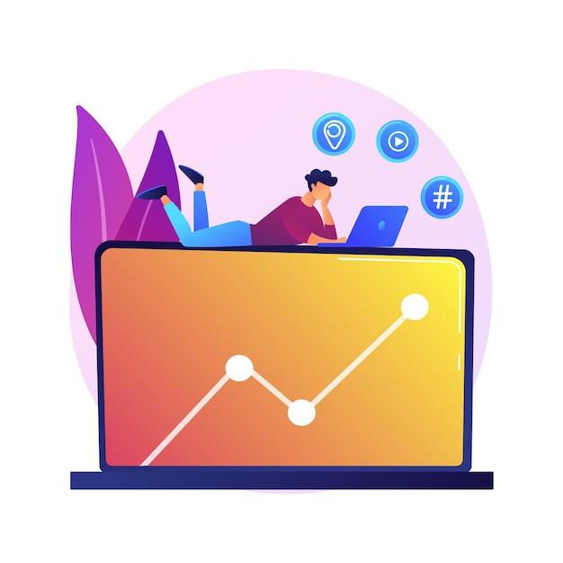 Navigare in rete. personaggio dei cartoni animati seduto su un grande laptop e alla ricerca di alcune informazioni su internet. file multimediale, geolocalizzazione, hashtag. Vettore gratuito
