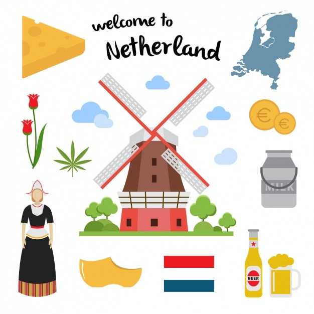 Netherland elements collection Free Vector