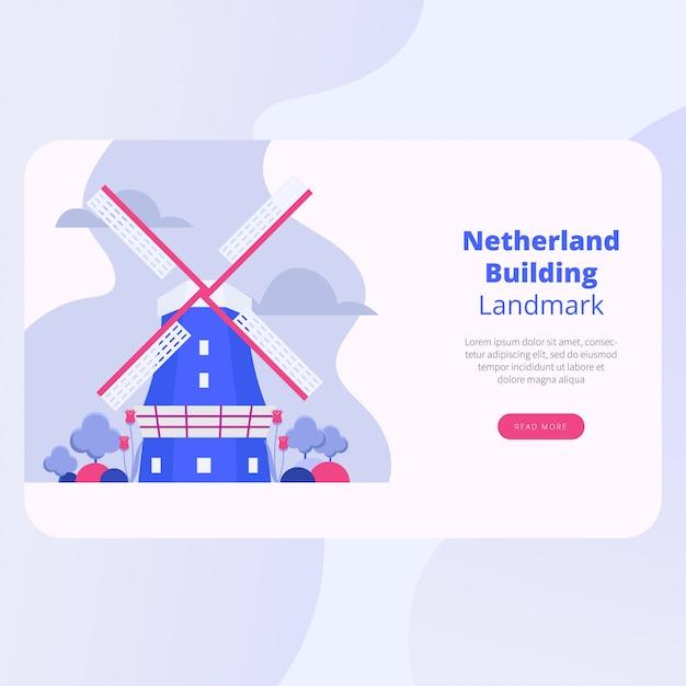 オランダの建物のランドマークランディングページベクターデザイン Premiumベクター