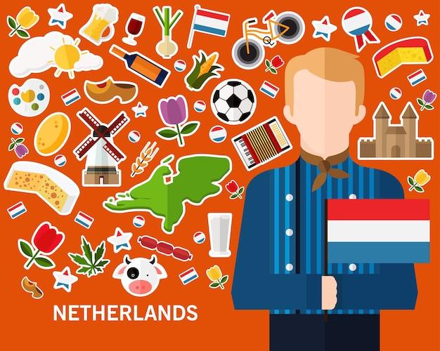 Netherlands concept background Premium Vector